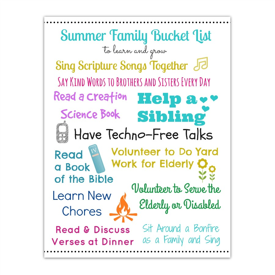 Summer Family Bucket List - Character Ink Press